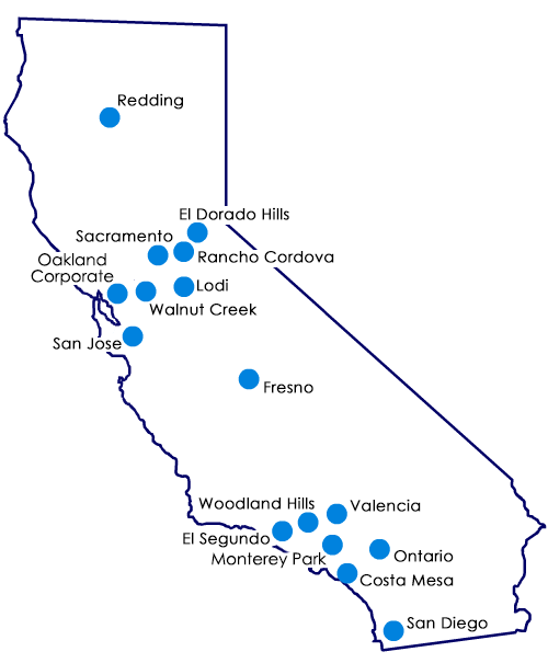 Map of Blue Shield locations in California